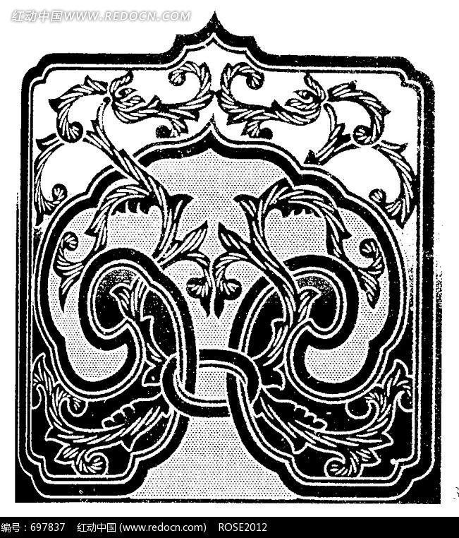 藤蔓缠绕黑白叶纹古典装饰花纹