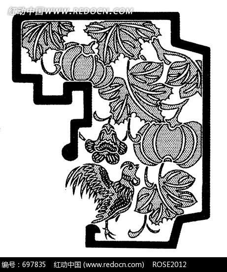 手绘线条传统窗框装饰南瓜藤叶公鸡