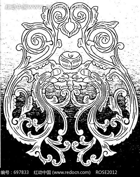 手绘线条传统窗框装饰南瓜藤叶公鸡_花纹花边图片_红