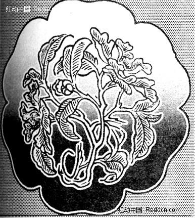 花朵边沿芭蕉叶型黑白花纹图片