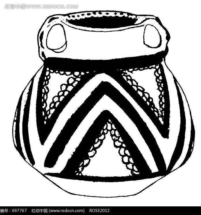 黑白手绘古代粗口陶罐素材图片