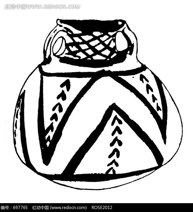 黑白手绘古代细口陶罐素材