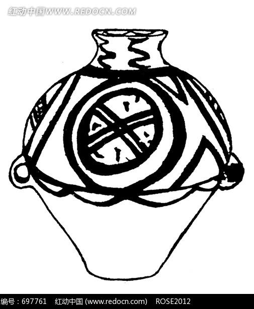 黑白简笔画古代陶罐图片图片(编号:697761)