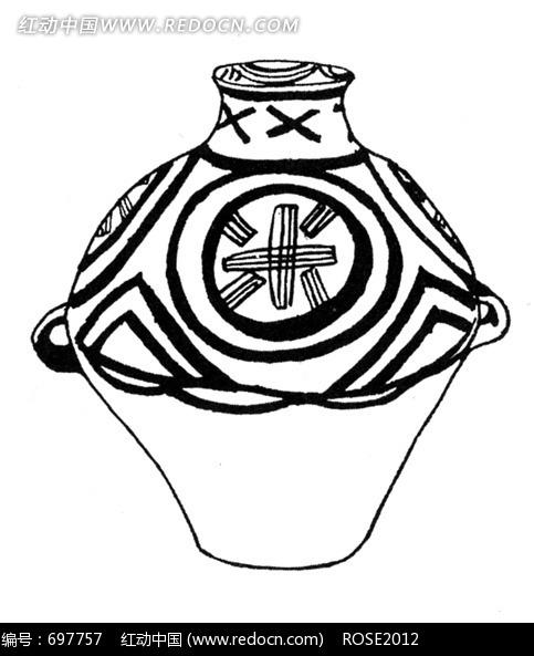 黑白手绘米坛素材
