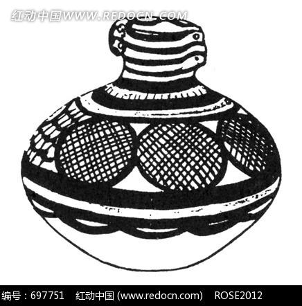 免费素材 图片素材 背景花边 花纹花边 手绘黑白圆形网格古代陶罐图