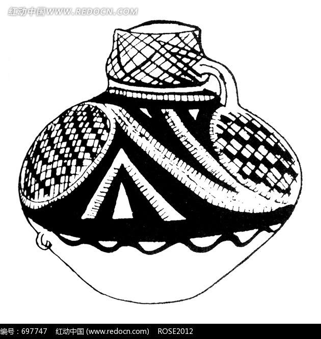 手绘黑白网格古代陶罐