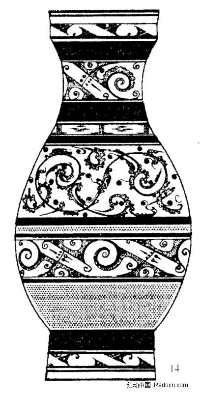 黑白古代陶瓷花瓶图片_花纹花边图片