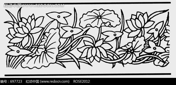 黑白线描荷花和荷叶图案花边图案