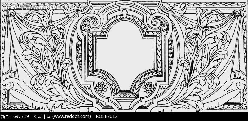 长方形 中部对称几何图形 黑白 线描花边图片图片