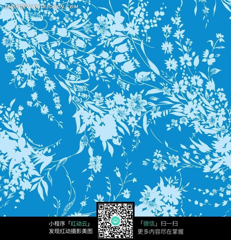蓝底白色植物花纹墙纸图片