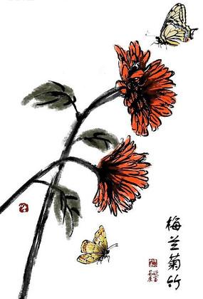 创意手绘红色君子兰传统花纹素材
