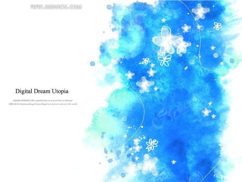 蓝底白花水墨风格背景素材_底纹背景图片
