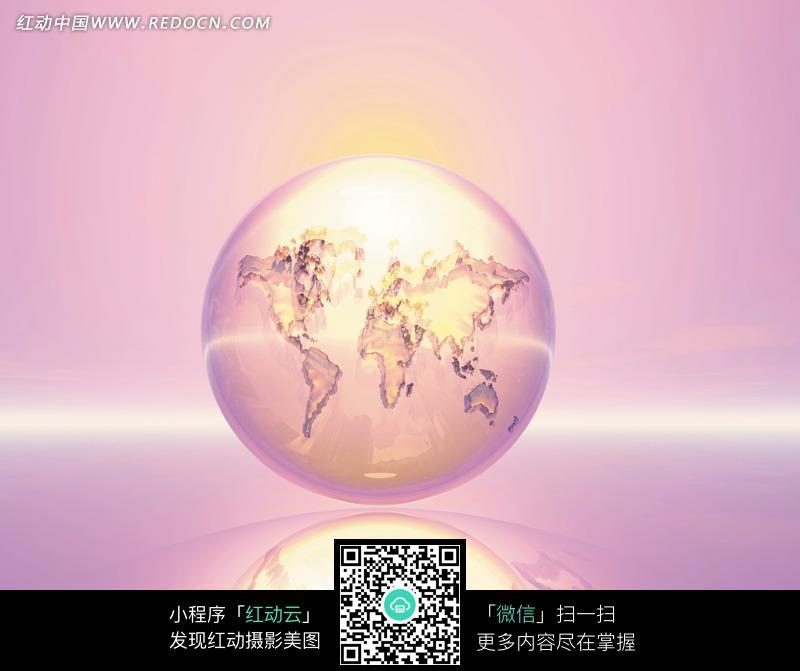 水晶地球上的地图和光晕图片
