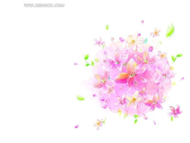 手绘粉色花朵