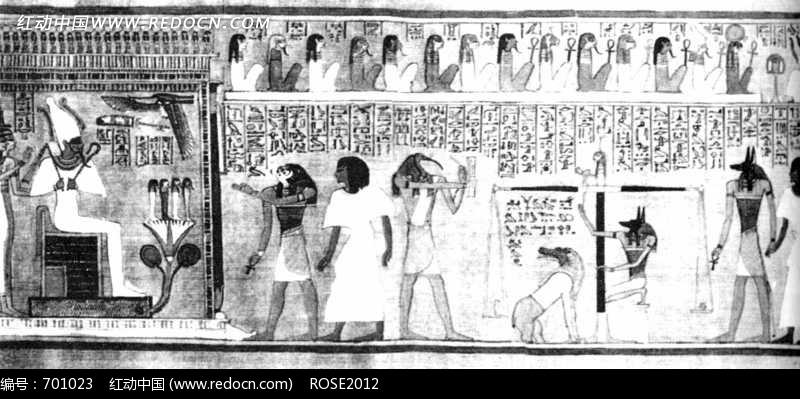 古埃及人物壁画黑白照片
