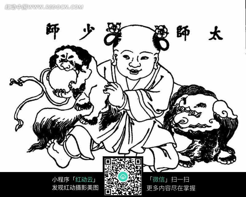 古代儿童与麒麟黑白线条图案图片素材