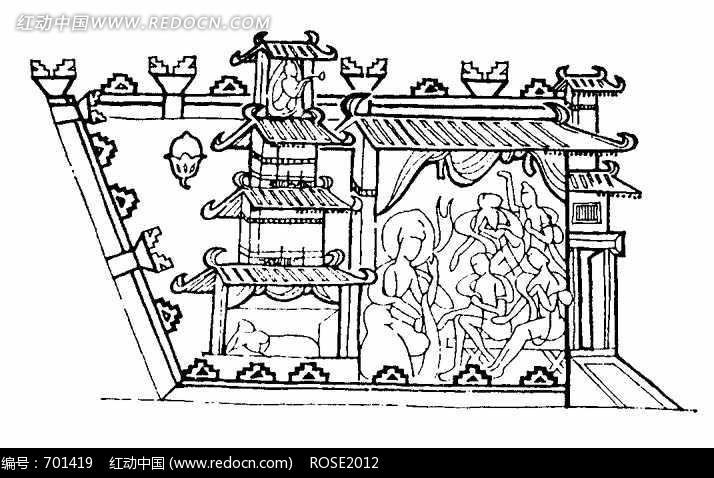 免费素材 图片素材 背景花边 花纹花边 中国古典图案-建筑物和众多