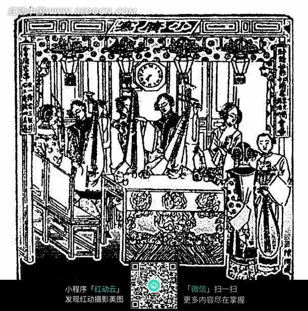 中国古代侍女乐队木刻板画图片