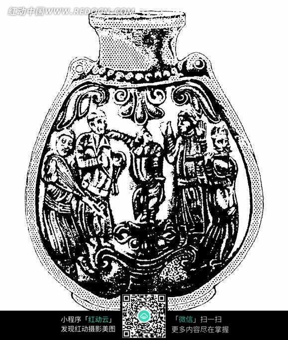 花瓶上的人物图案黑白线条图案图片素材
