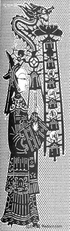免费素材 图片素材 背景花边 花纹花边 中国古典图案-手拿龙头幡的