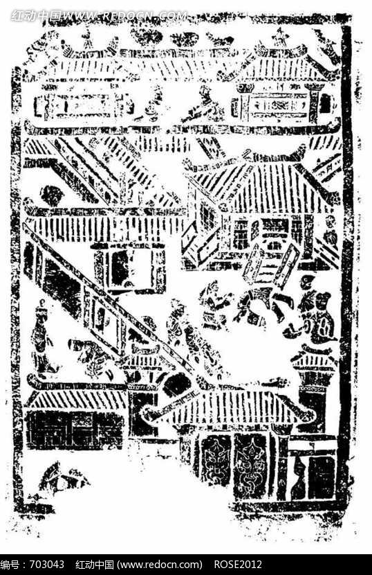 古代建筑物和人物构成的图案