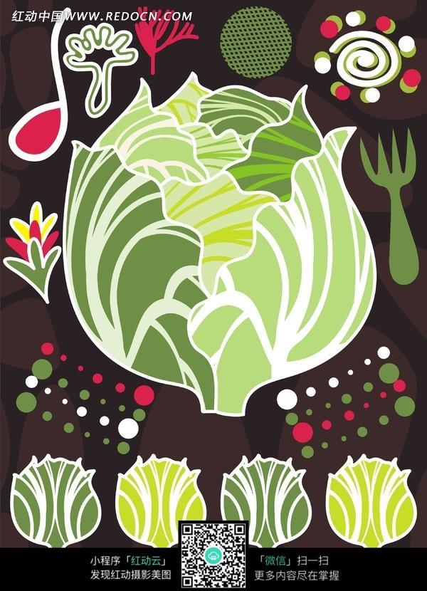 彩色图案-卷心菜/叉子/太阳图片