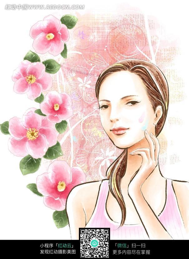 手绘花朵化妆美容的时尚女孩图片