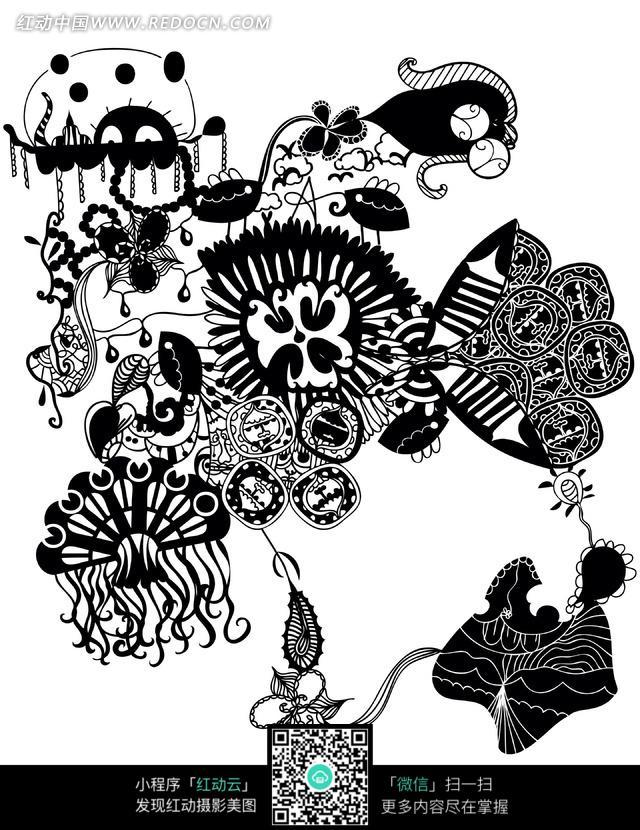 现代风格黑白植物花纹图案