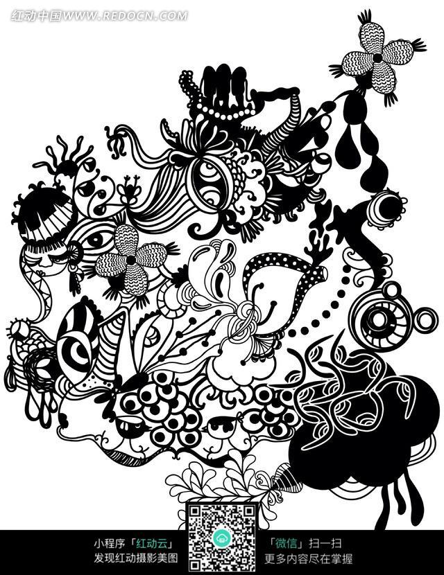 黑白植物花纹图案素材图片