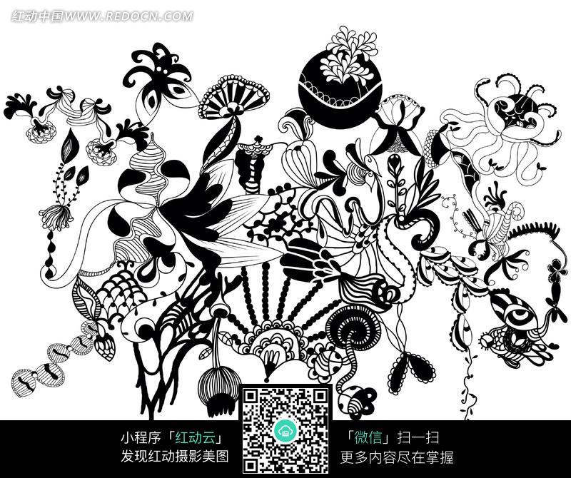 黑白创意花纹简笔画图案素材图片
