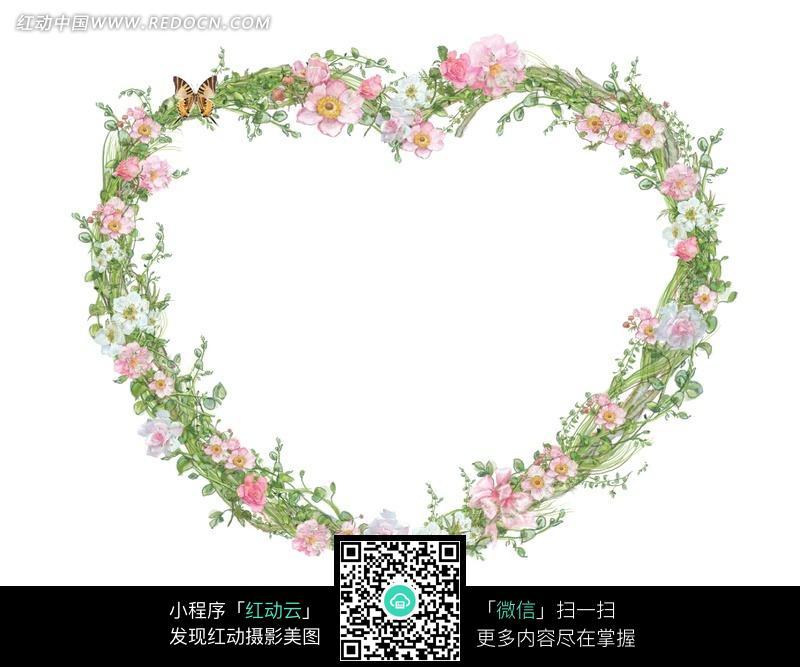 免费素材 图片素材 背景花边 边框相框 彩色花朵欧式草编心形边框