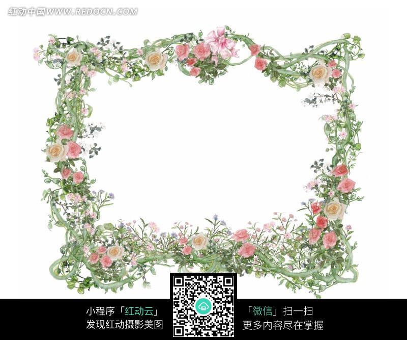 粉红色花朵欧式草编边框