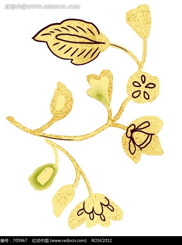 卡通黄叶黄花图片素材