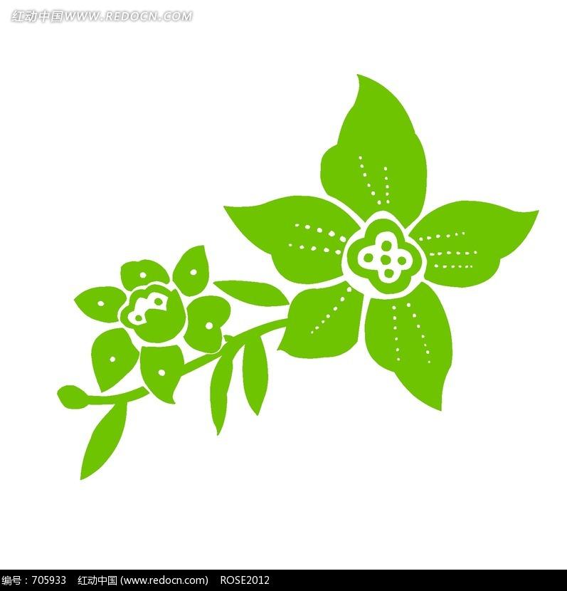 花瓣带虚线的五瓣花朵和叶子图片免费下载 编号705933 红动网