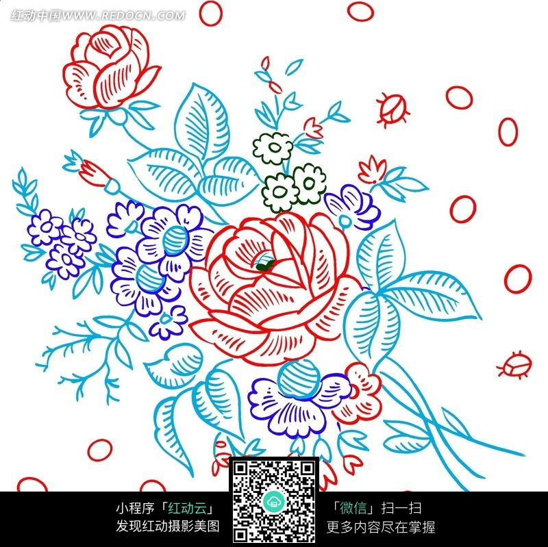手绘卡通花丛图案图片素材