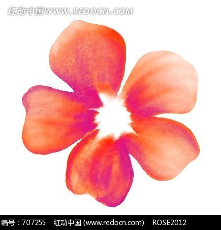 手绘红色五瓣花图片