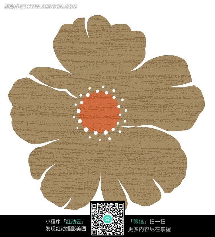 手绘褐色图案花
