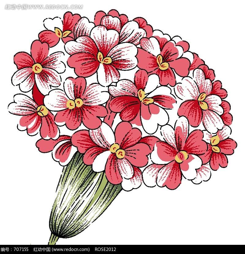手绘简单花簇图