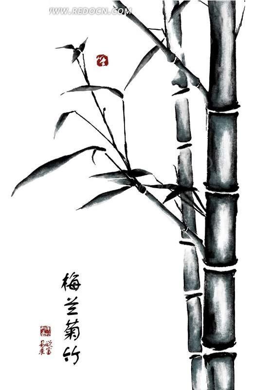 中国水墨画竹子psd分层素材
