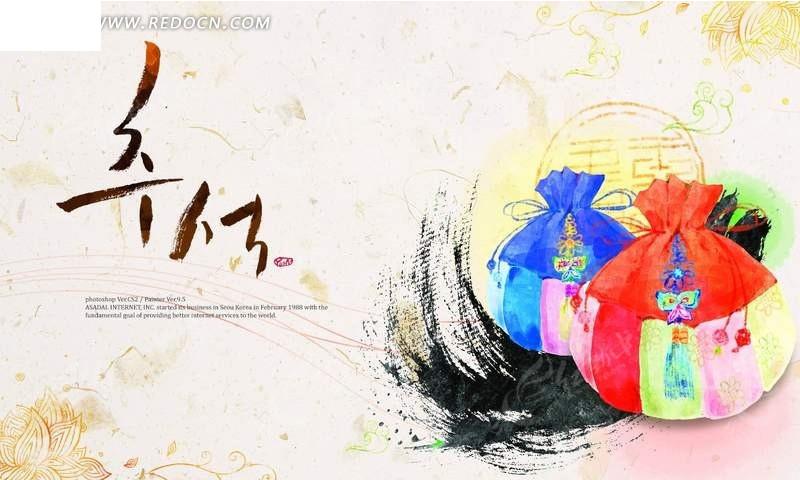 psd素材 psd花纹边框 底纹背景 素雅古典背景上的彩绘韩国传统香囊