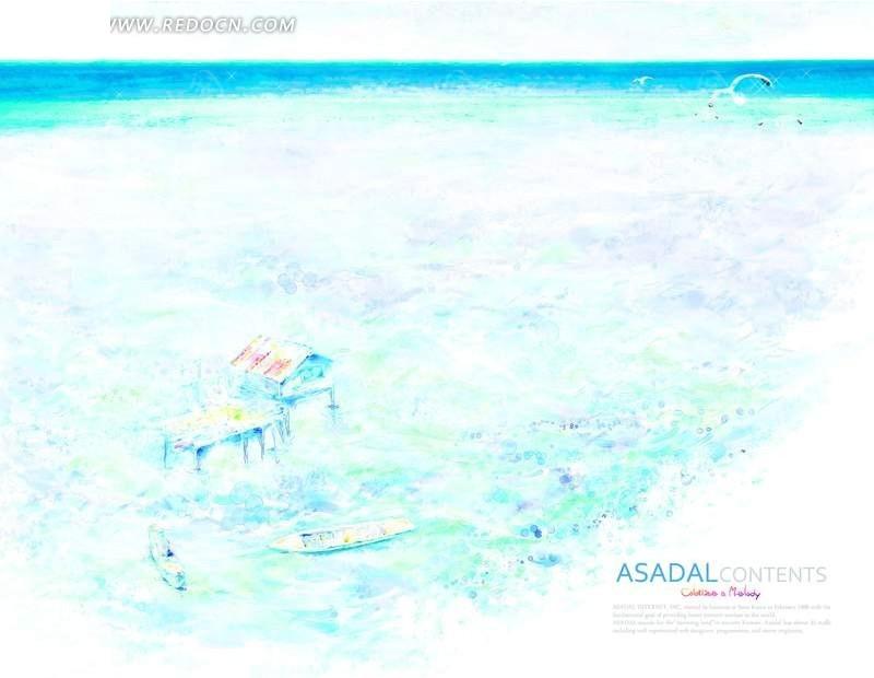 海边沙滩上的小屋水彩画素材 海洋 海水 蓝色 木屋 房子 船 海鸥 鸟