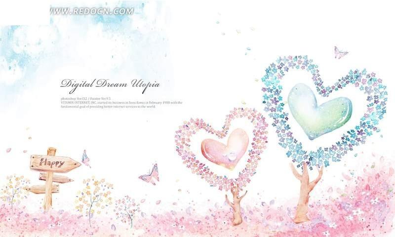 图案 心形树木手绘卡通 情人节 心形 树木 草地 卡通 手绘 可爱 蝴蝶