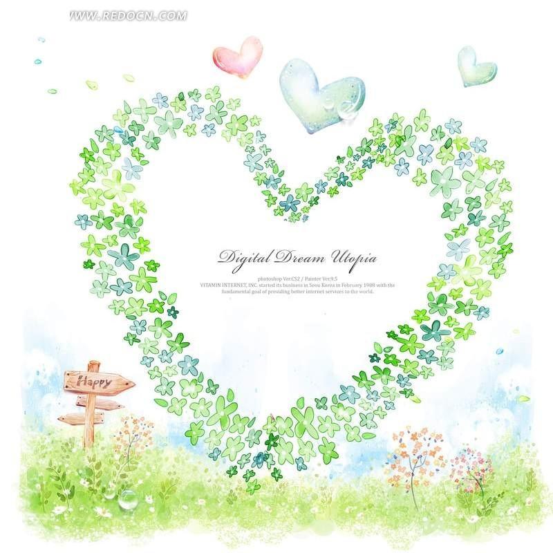 心形花瓣手绘卡通