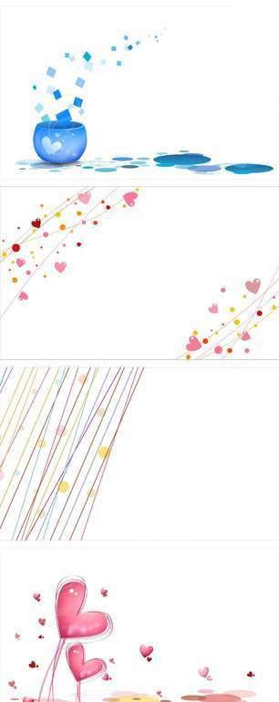 浪漫可爱手绘心形系列花纹图案素材
