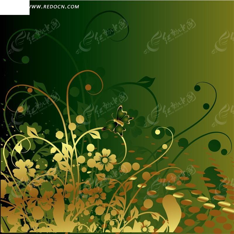 花草藤蔓蝴蝶圆形绿色背景矢量图_花纹花边