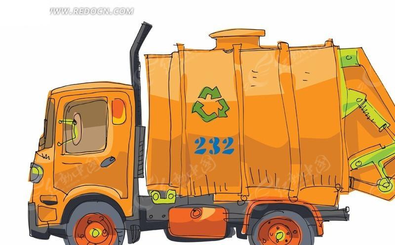 卡通手绘喷灌卡车矢量素材