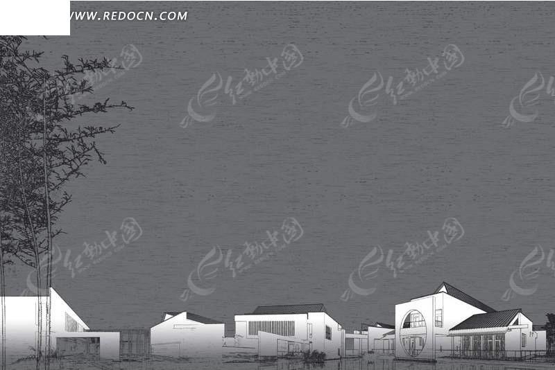 手绘线条白色中国房子背景图
