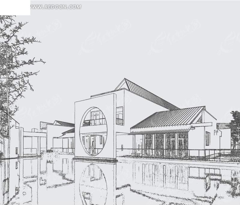 手绘素描风格现代建筑效果图psd