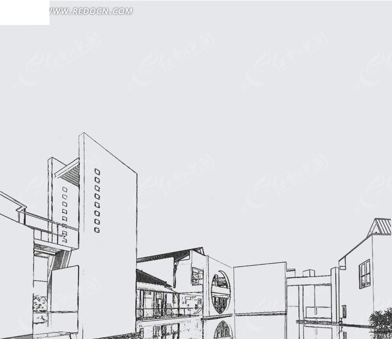 免费素材 psd素材 psd建筑空间 其他设计 素描风格商业线条画psd素材图片