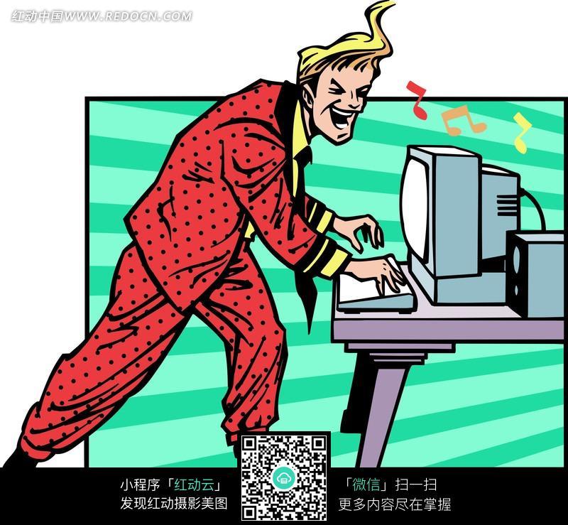 免费素材 图片素材 漫画插画 人物卡通 一边听音乐唱歌一边敲键盘站着